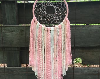 Pink Dreamcatcher, Dream catcher wall hanging, dream catcher wall art
