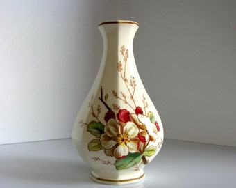 "Villeroy & Boch / Mid Century / Porcelain Vase / West Germany / Bud Vase / 7 ""/ Floral / Portobello/ Made in Germany / White / Brown / Green"
