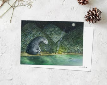 Watercolor postcard,print,painting,card from travel,gift for cyclist,hiker,hiking,guardian of travelers,adventurers,green forest,night lake.