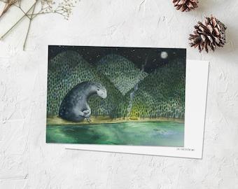 Watercolor postcard,woodland animal,mountain art,forest spirit,painting print,traveling,aquarelle,montagne,carte postale,monster,adventure.