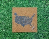 Cork Push Pin Travel Map of the USA! with 50 Pins - Slate Gray / Travel Corkboard / United States Pushpin Map / Pinnable US Traveler Gift