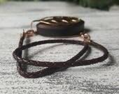 Coffee Wrap Leather Bolo Bracelet - Bellabeat Leaf