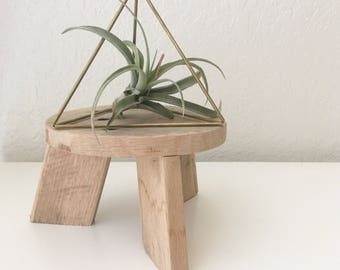 Geometric Tetrahedron Himmeli - Triangular Pyramid - Triangle Hanging Mobile - Coffee Table Decor - Minimalist Brass Dome - Air Plant Holder