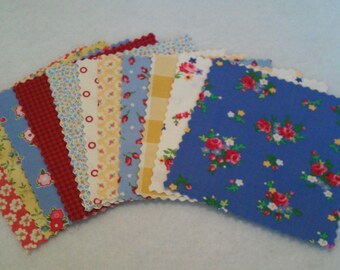 De-Stash Designer Fabric in 5 inch squares with two (2) of each print: Lakehouse Dry Goods, Moda, Robert Kaufman & Henry Glass