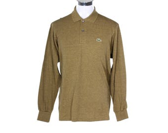Lacoste 90s NOS long sleeves polo piquet shirt brown/green melange cotton shirt made in France, new with tags.