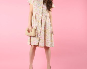 Not As Sweet As She Looks Summer Pink Oatmeal Floral 80s Cotton Dress