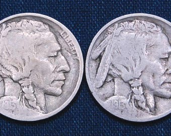 Two 1913 Buffalo Nickels: Type 1 and Type 2
