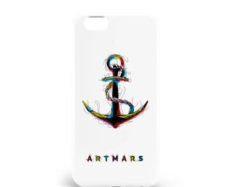 Happy Anchor case. PVC. iPhone 4, 4s, 5, 5s, SE, 5 c, 6, 6, 6 Plus 6s Plus, 7 and 7 more, design illustration, madeinfrance, artmars