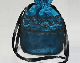 Teal Satin & Black Organza Dolly Bag / Handbag Bride Communion Christening Wedding Bridesmaid