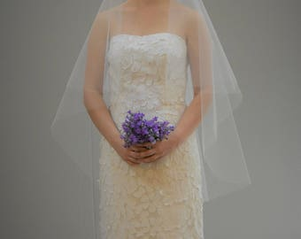 "Plain 30""/42"" Circle Veil with Cut Edge"