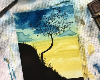 Yelow and blue sky, hillside, tree watercolor painting