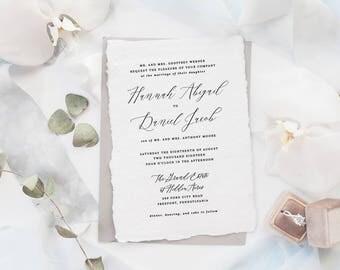 The Hannah Suite | Wedding Invitation Suite, Wedding Invitation, Romantic Wedding Invitation, Calligraphy Wedding Invitation