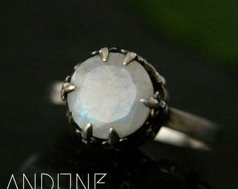 silver moonstone ring moonstone engagement ring pagan ring unique ring selene ring size n ring size 7 ready to ship rings - Pagan Wedding Rings