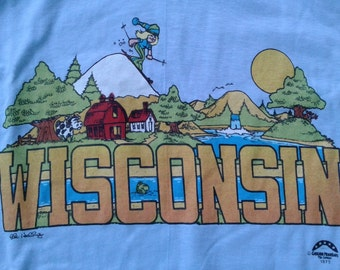 Deadstock 1979 70's Wisconsin Tourist blue t-shirt Made in USA