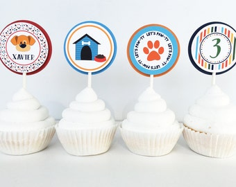 Puppy Dog Cupcake Toppers  - Dog Cupcake Topper - Puppy Party - Puppy Birthday - Pawty - Dog Party -Dog Birthday - SET OF 12