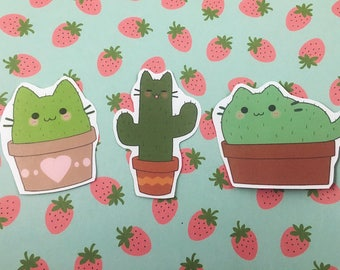 Cactus Cats 'Catcti' Sticker Set!! ~ Cute, kawaii, kitty, cacti, stickers, planner stickers, laptop stickers, plants, sticker pack