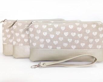 Wedding clutch Set Bag Bridesmaid Clutch Purse Rustic Evening purse Bridesmaid Gift Hearts Pearl