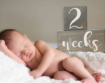 LARGE Baby Age Blocks, Baby Milestone Blocks, Baby Month Blocks, Baby Age Blocks, Baby Shower Gift, Photo Blocks, Photo Prop