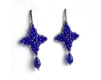 Beadwork Navy Blue Gemstone earrings, Long Seed bead Agate earrings, Beadwoven Beaded jewelry, Large Star Boho Drop Post earrings
