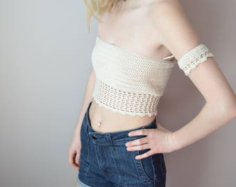 Crochet Crop Top Crochet Bralette Ethical Fashion FairTrade Clothing Sustainable Fashion Festival Crochet Top Off-the-Shoulder Fashion Vegan