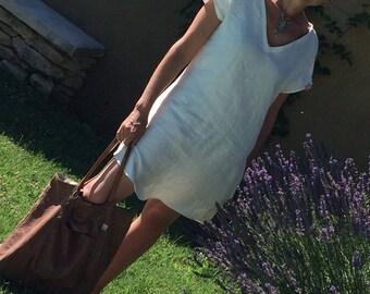 Dress tunic, V neck, washed linen
