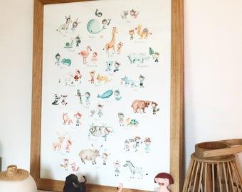 Illustration-Aquarelle-tirage d'art-affiche-décoration chambre d'enfants-abécédaire-alphabet-Ninon-animaux