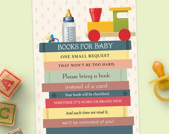 "Printable Stack of Books Baby Shower Book Request Card, Four 3.5""x5"" Cards, Instant Download JPG"