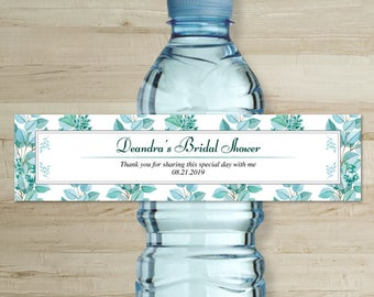 """Printable Watercolor Eucalyptus Succulent Greenery Water Bottle Labels, Shower, Personalized 8"""" x 2"""" Labels, Editable PDF, Instant Download"""
