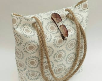 Beach bag/Tote in pretty gloss oilcloth with natural sisal shoulder straps, Oilcloth tote bag, Oilcloth beach bag, Beach tote,