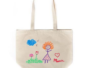 Tote with custom printed child's drawing