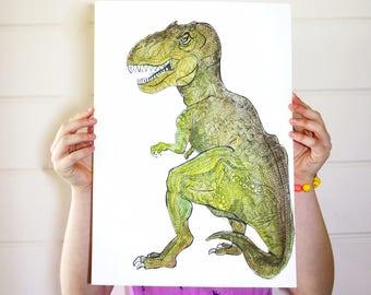 T-Rex Print / T Rex Poster / Nursery Animal Print / Kids Wall Art / Tyrannosaurus Print / Dino Illustration / A4 A3 / Dinosaurs / T Rex