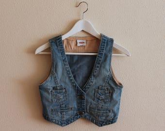 Blue Denim Vest Vintage Denim Vest Fitted Jeans Vest Denim Waistcoat Metal Buttons Women's Jeans Vest Small Size