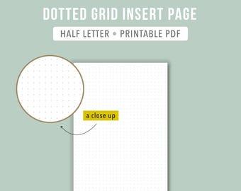 PRINTABLE Half letter dot grid Bullet journal template BuJo paper Half letter planner insert Planner refill Bullet journal dot paper