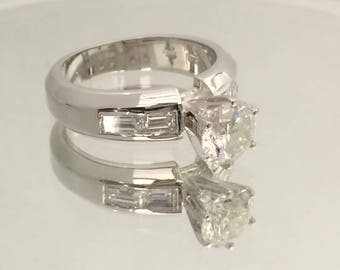 Certified 2.00 CT Round cut & Baguette cut Diamond engagement Ring 14k white gold  hand made