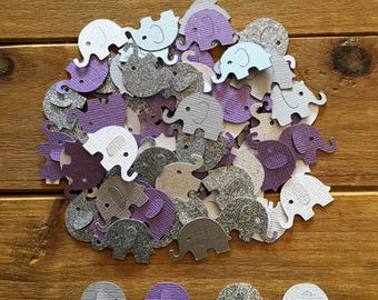Purple Elephant Confetti, Silver Elephant, elephant baby shower confetti, It's a Girl, elephant decoration, girl baby shower