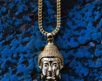 "18k Gold PVD Plated Micro Buddha Head Necklace Chain Pendant 22"" 28"""