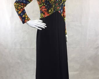 Dark Disco Floral Long Sleeve Dress with Black Skirt | Size 6 | Bohemian | Festival | Bridesmaid | Prom | Club