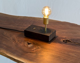 Modern Wood and Brass Edison Lamp - Wenge Accent Light with Vintage Fabric Cord