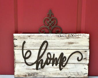 Home Sign Distressed Wood
