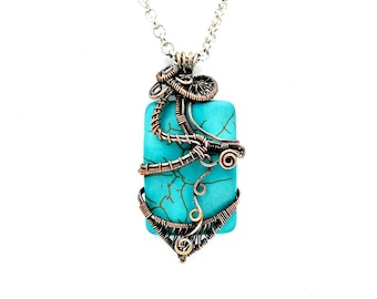 Wire wrapped pendant - Best gift for wife on her birthday - heady wire wrap pendant -  turquoise necklace - december birthstone