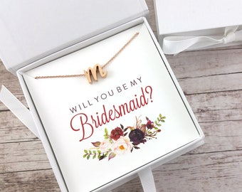 Bridesmaid Proposal Gift, Will You Be My Bridesmaid, Rose Gold Initial Necklace, Dainty Necklace, Maid of Honor Proposal - (FPS0050)