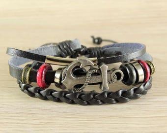 Mens leather bracelet anchor bracelet mens boho bracelet hippie bracelet anchor mens bracelet adjustable bracelet nautical bracelet men cuff