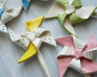 Pinwheel Ceramic Magnet-magnets-christening favors-Wedding Favors-pinwheels-decor house-magnets-Home decor