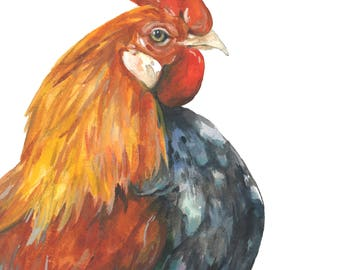 Rooster art, Rooster painting, Rooster watercolor, Farm art, Kitchen art, Rooster print, Farm animal painting