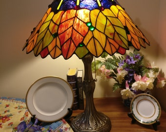 "14"" Tiffany lamp Fall leaves design (SE3-fall leaves)"