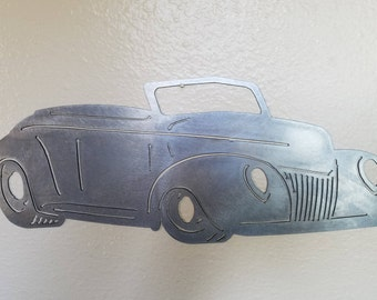 1939 Chevy Coupe Convertible Metal Art