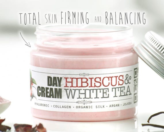 HIBISCUS & WHITE TEA Day Cream • Organic Moisturizing face cream for skin firming and Balancing with hyaluronic acid, collagen and rosehip.