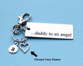 Personalized Daddy To An Angel Key Chain Stainless Steel Customized with Your Charm & Initial - K174