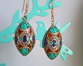 Ethnic earrings - Turquoise / coral and lapis lazuli - handmade