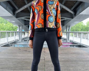 Bomber jacket reversible African print African fabric and satin